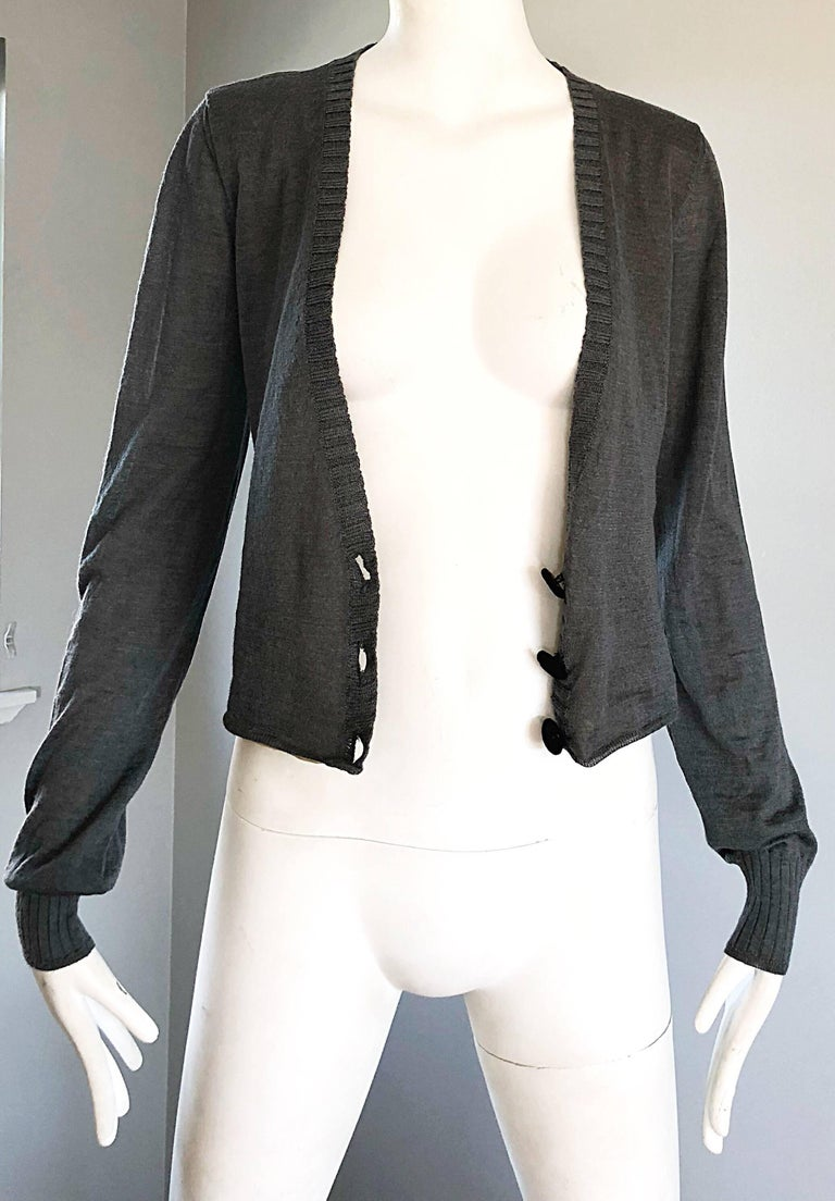 Lanvin Hiver 2006 Charcoal Grey Alpaca + Silk Button Up Cardigan Sweater For Sale 1