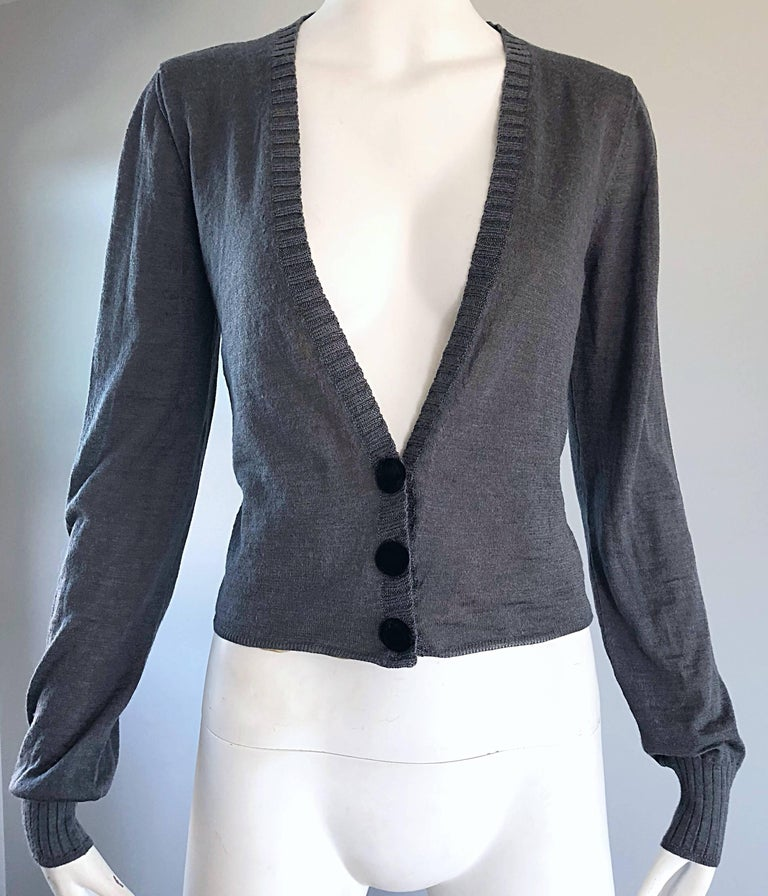 Lanvin Hiver 2006 Charcoal Grey Alpaca + Silk Button Up Cardigan Sweater For Sale 2