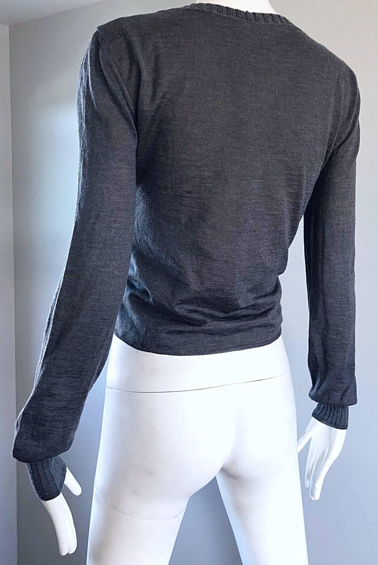 Lanvin Hiver 2006 Charcoal Grey Alpaca + Silk Button Up Cardigan Sweater For Sale 3