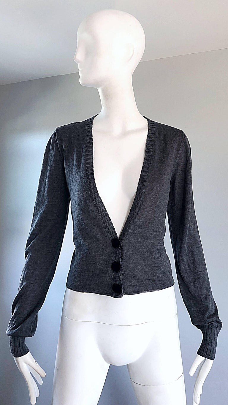 Lanvin Hiver 2006 Charcoal Grey Alpaca + Silk Button Up Cardigan Sweater For Sale 4