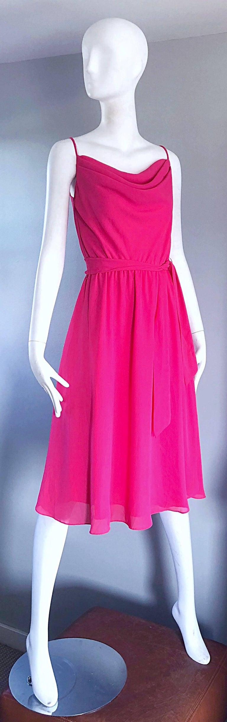 1970s Phillipe Jodur for Ferrali Hot Pink Crepe Sleeveless Belted Disco Dress In Excellent Condition For Sale In Chicago, IL