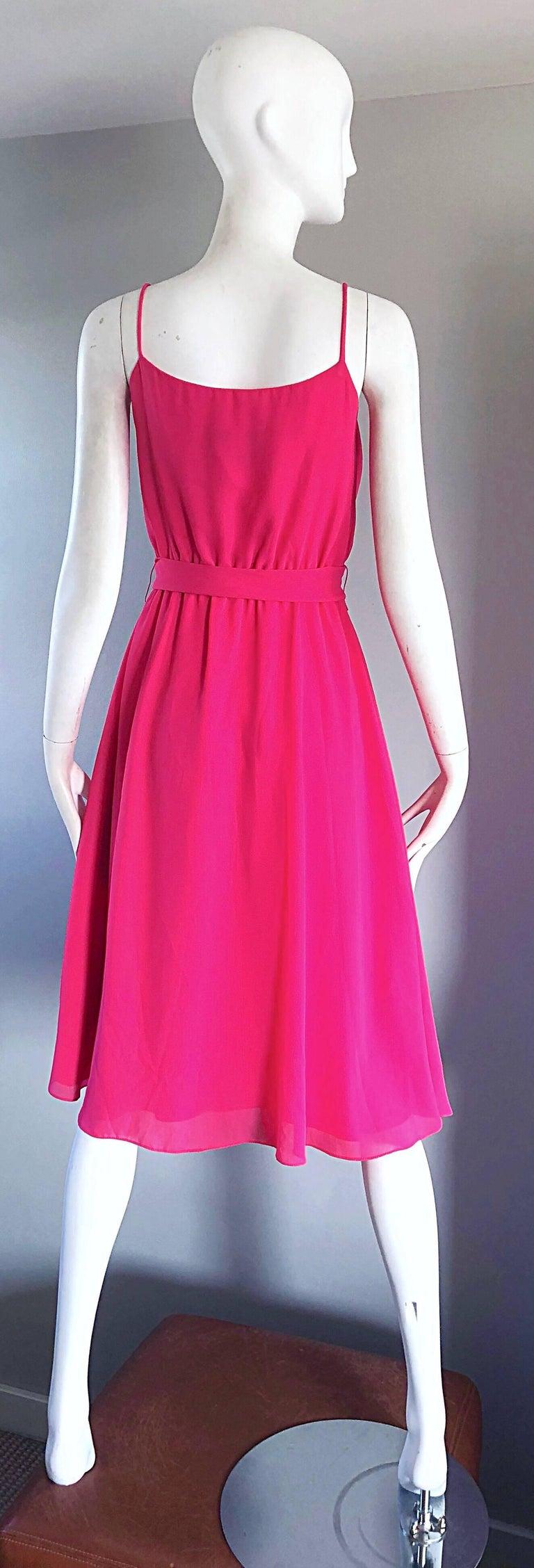 Women's 1970s Phillipe Jodur for Ferrali Hot Pink Crepe Sleeveless Belted Disco Dress For Sale