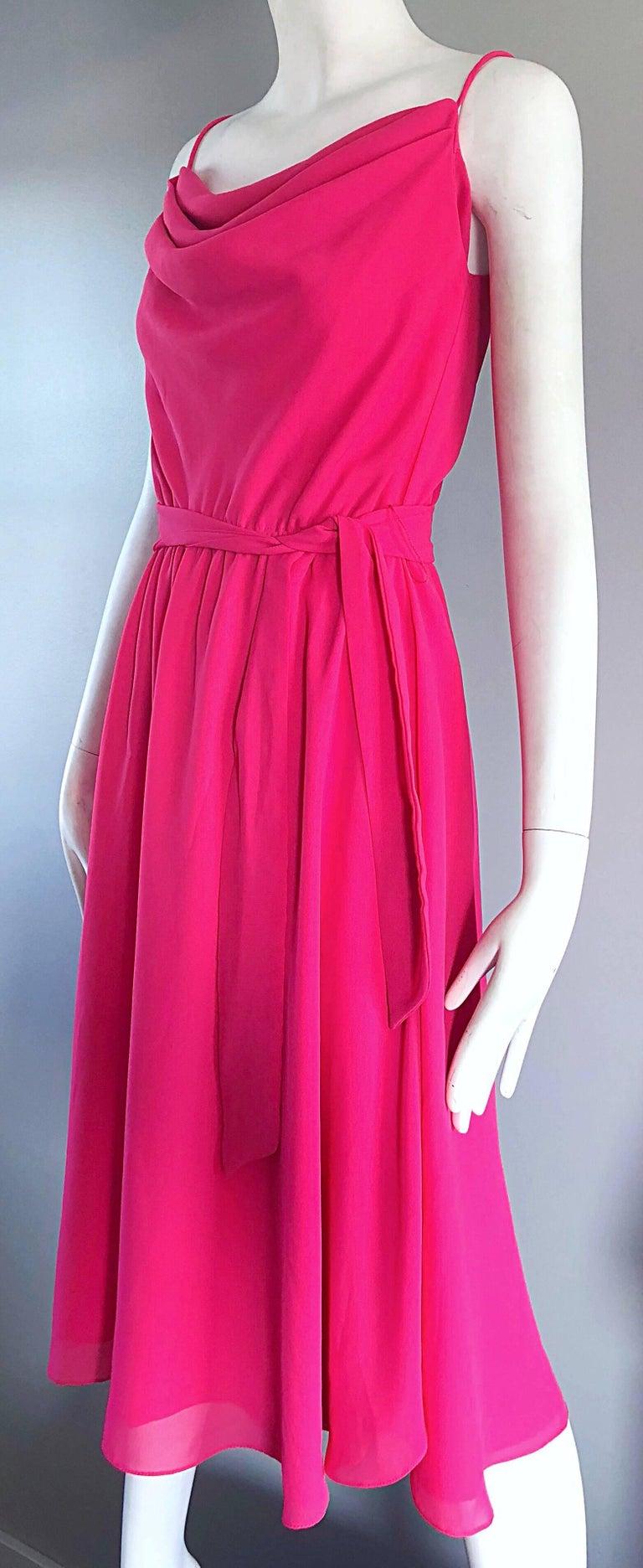 1970s Phillipe Jodur for Ferrali Hot Pink Crepe Sleeveless Belted Disco Dress For Sale 1