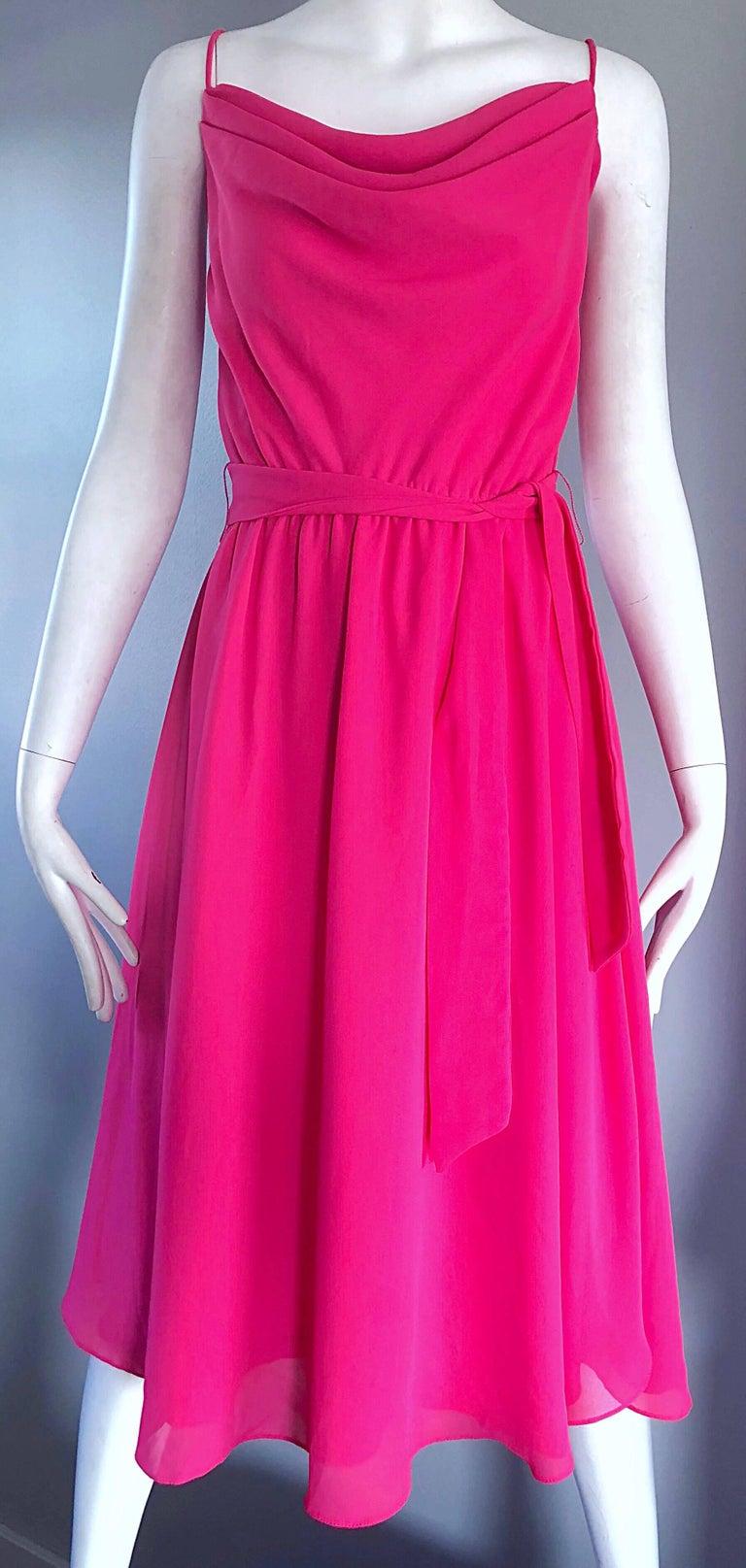 1970s Phillipe Jodur for Ferrali Hot Pink Crepe Sleeveless Belted Disco Dress For Sale 2