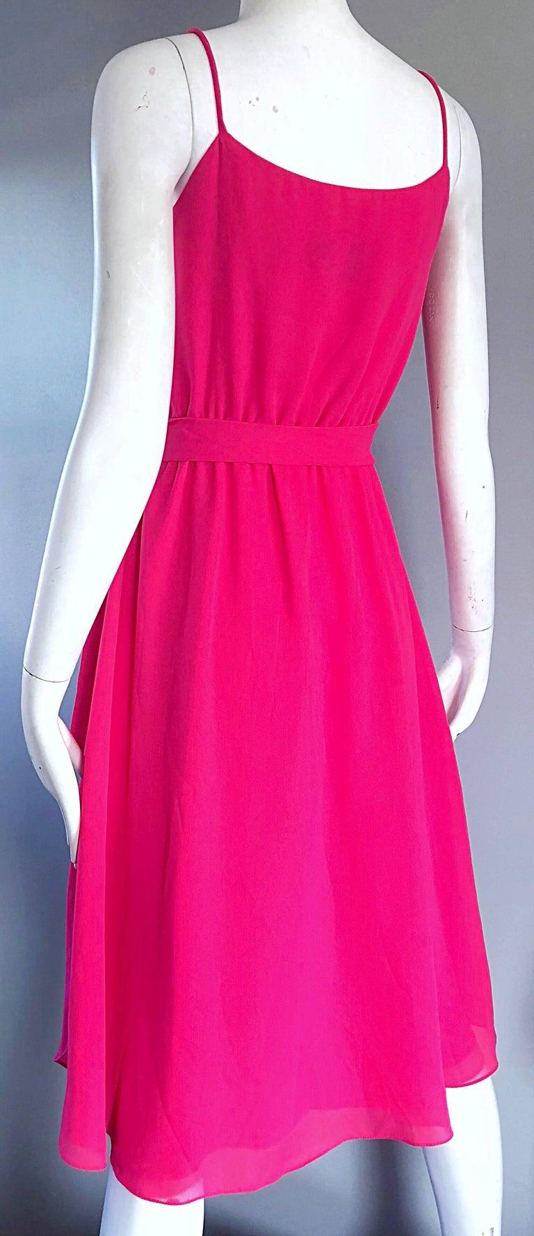 1970s Phillipe Jodur for Ferrali Hot Pink Crepe Sleeveless Belted Disco Dress For Sale 3
