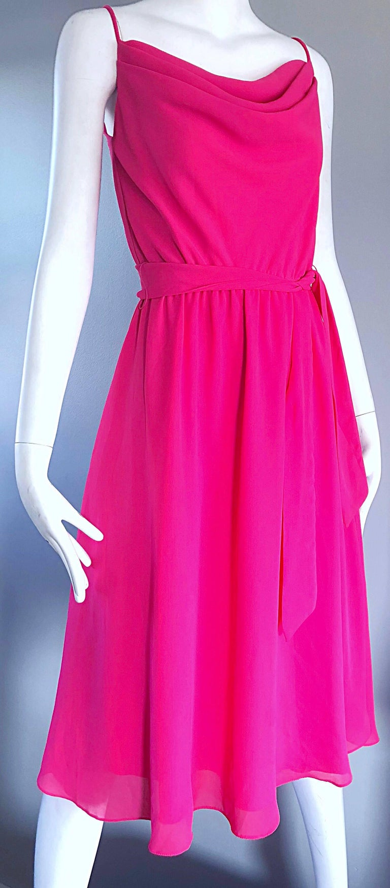1970s Phillipe Jodur for Ferrali Hot Pink Crepe Sleeveless Belted Disco Dress For Sale 4