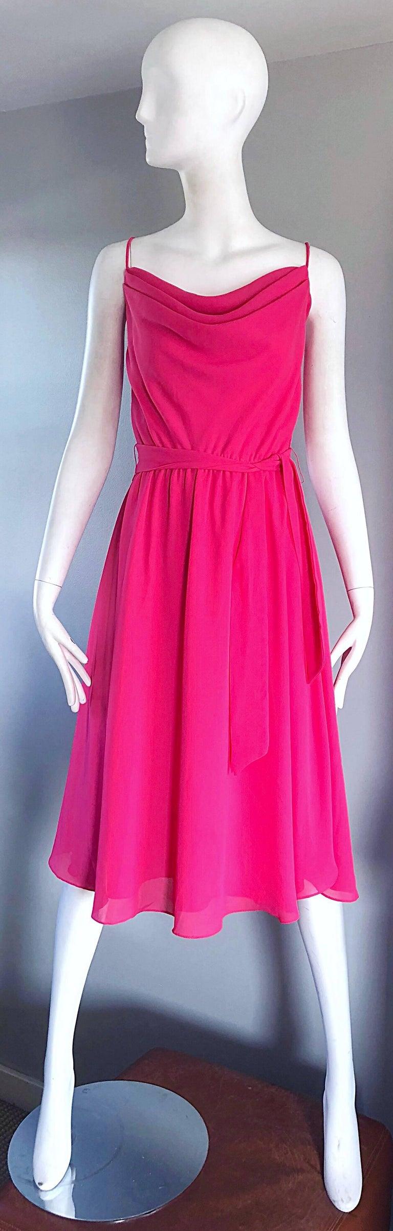 1970s Phillipe Jodur for Ferrali Hot Pink Crepe Sleeveless Belted Disco Dress For Sale 5