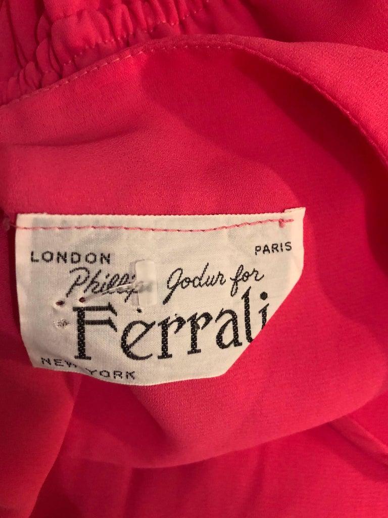 1970s Phillipe Jodur for Ferrali Hot Pink Crepe Sleeveless Belted Disco Dress For Sale 6