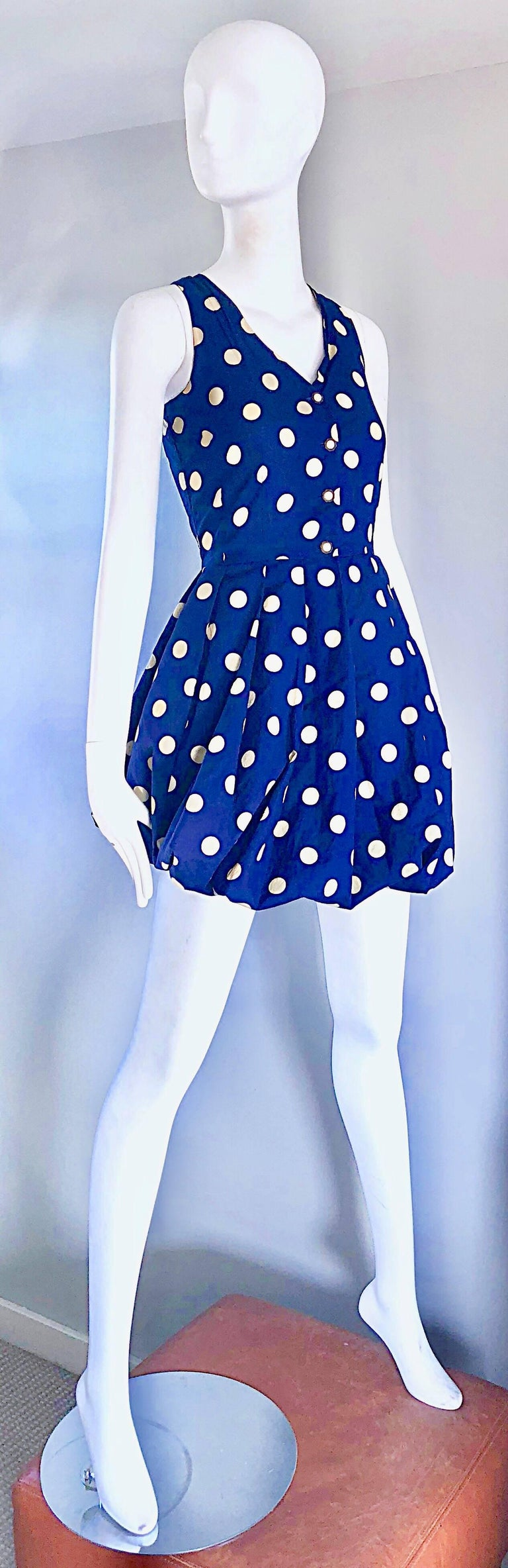 Women's 1990s Sergio Tegon Navy Blue and White Italian Cotton 90s Vintage Bubble Dress For Sale