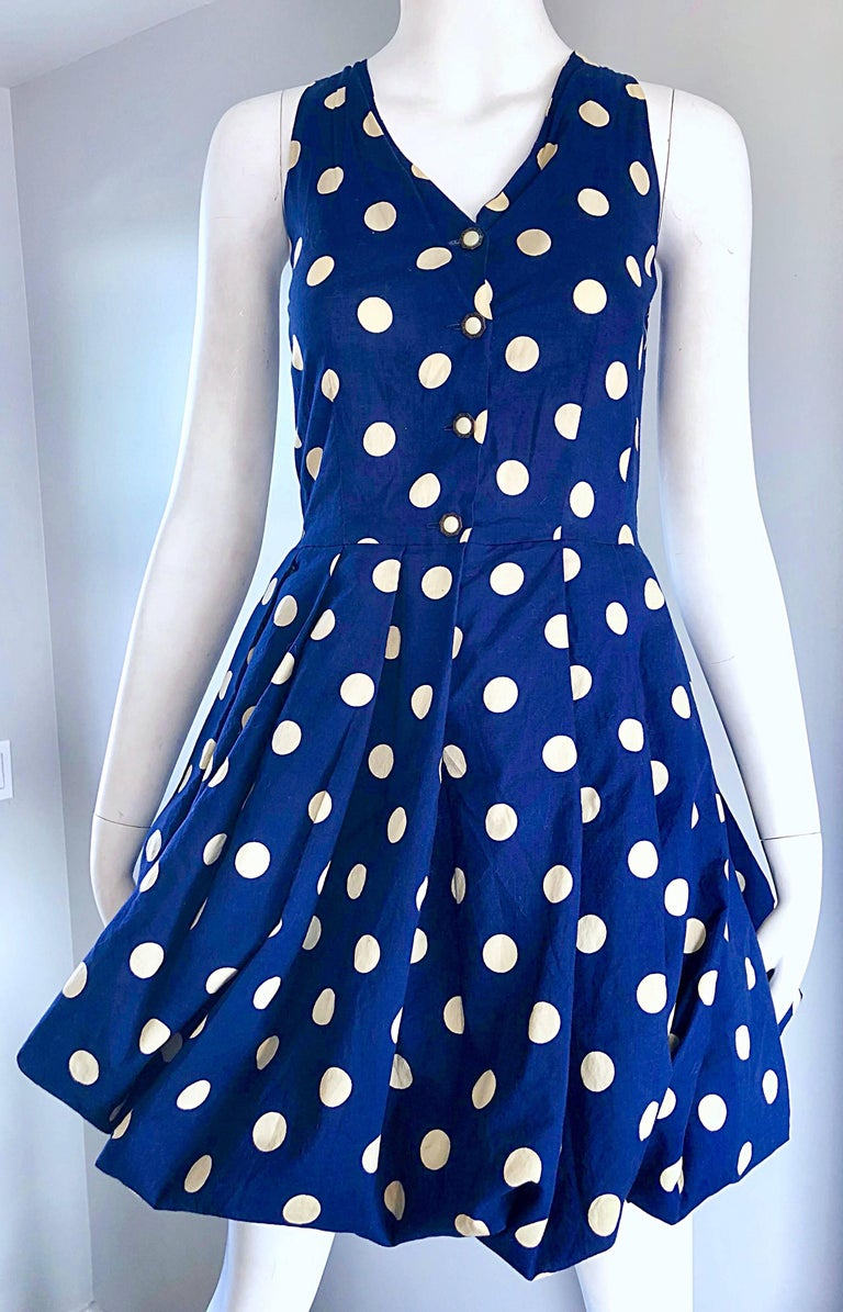 1990s Sergio Tegon Navy Blue and White Italian Cotton 90s Vintage Bubble Dress For Sale 1