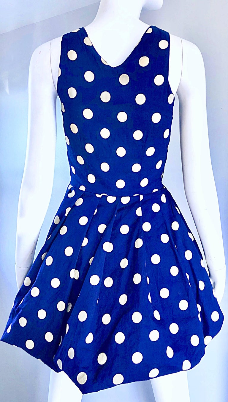 1990s Sergio Tegon Navy Blue and White Italian Cotton 90s Vintage Bubble Dress For Sale 3