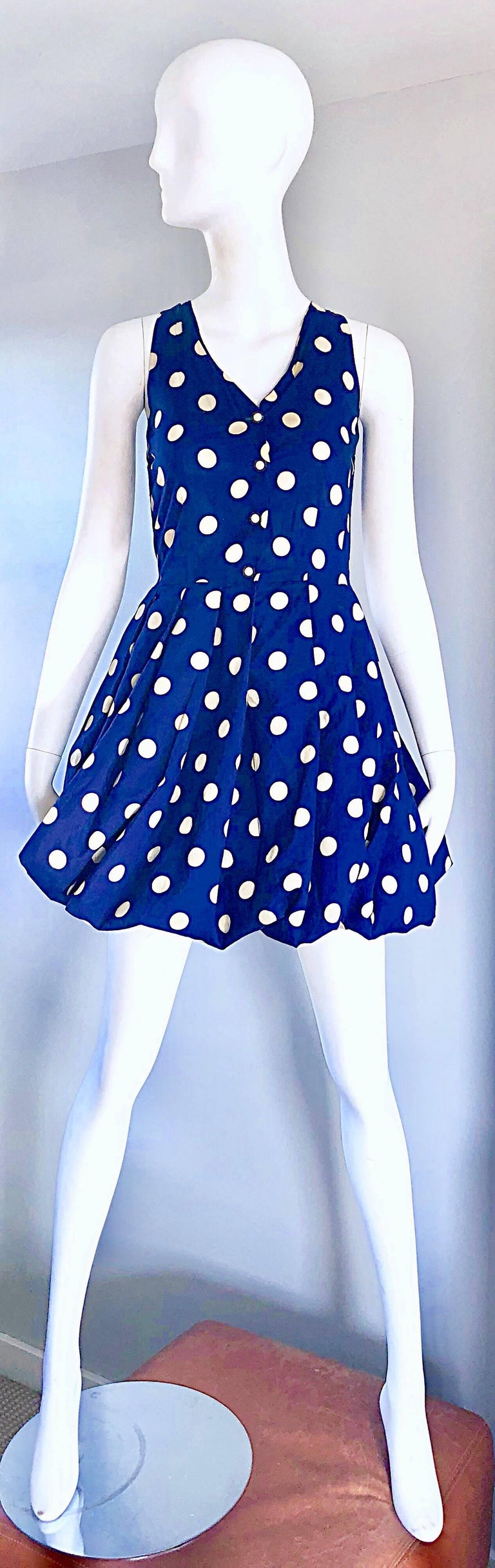 1990s Sergio Tegon Navy Blue and White Italian Cotton 90s Vintage Bubble Dress For Sale 4