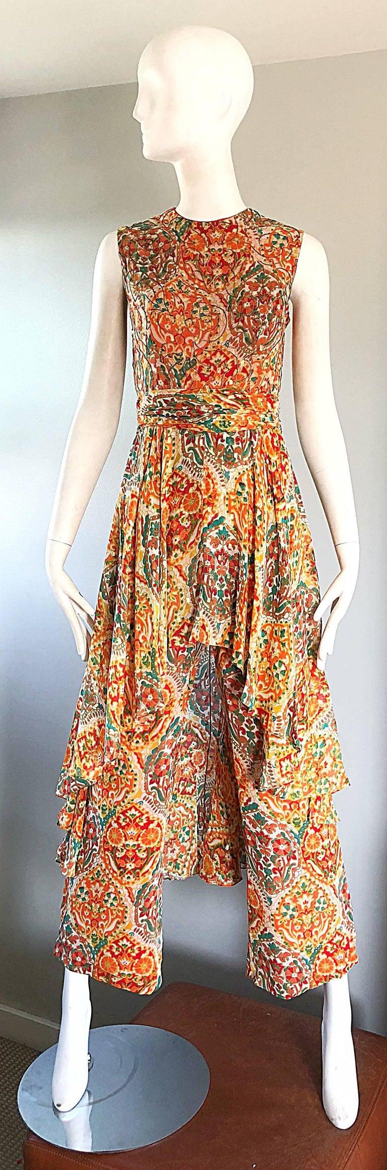 Brown Oscar de la Renta Silk Boho Batik Print Vintage Jumpsuit with Attached Skirt  For Sale