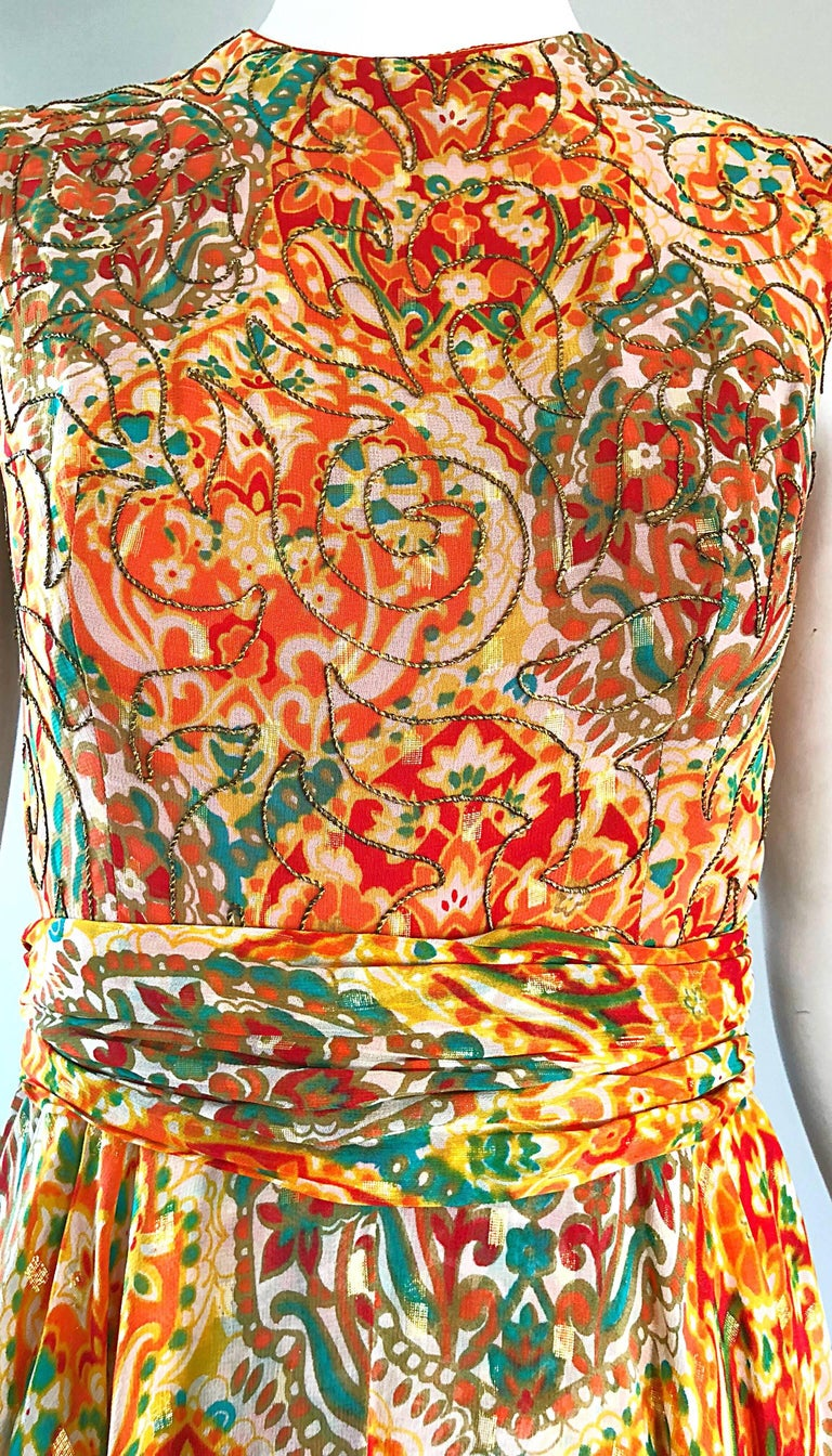 Oscar de la Renta Silk Boho Batik Print Vintage Jumpsuit with Attached Skirt  In Excellent Condition For Sale In Chicago, IL
