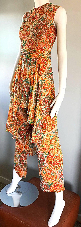 Women's Oscar de la Renta Silk Boho Batik Print Vintage Jumpsuit with Attached Skirt  For Sale