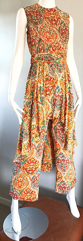 Oscar de la Renta Silk Boho Batik Print Vintage Jumpsuit with Attached Skirt  For Sale 1