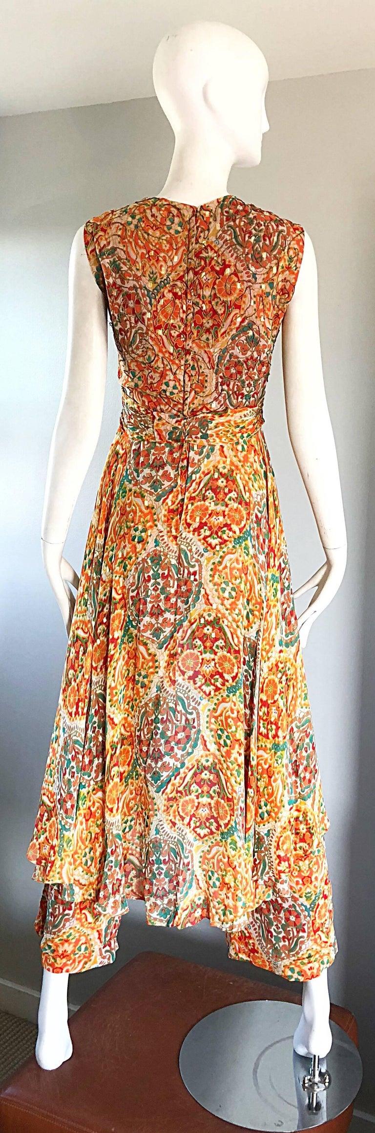 Oscar de la Renta Silk Boho Batik Print Vintage Jumpsuit with Attached Skirt  For Sale 2