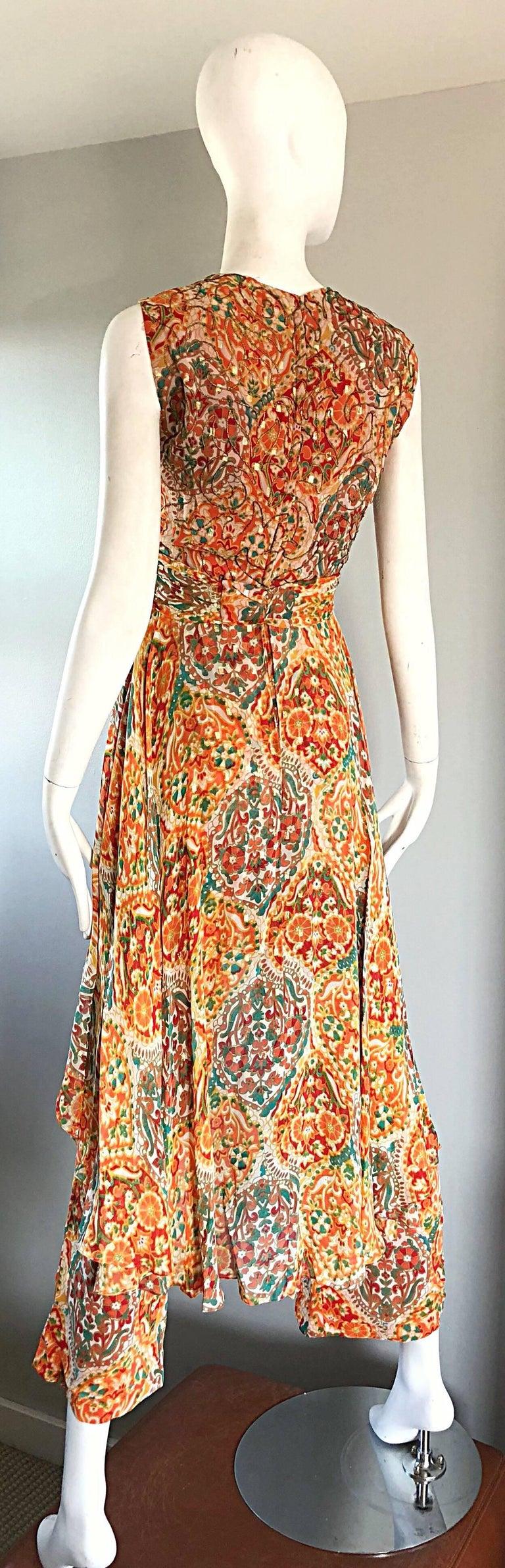 Oscar de la Renta Silk Boho Batik Print Vintage Jumpsuit with Attached Skirt  For Sale 3