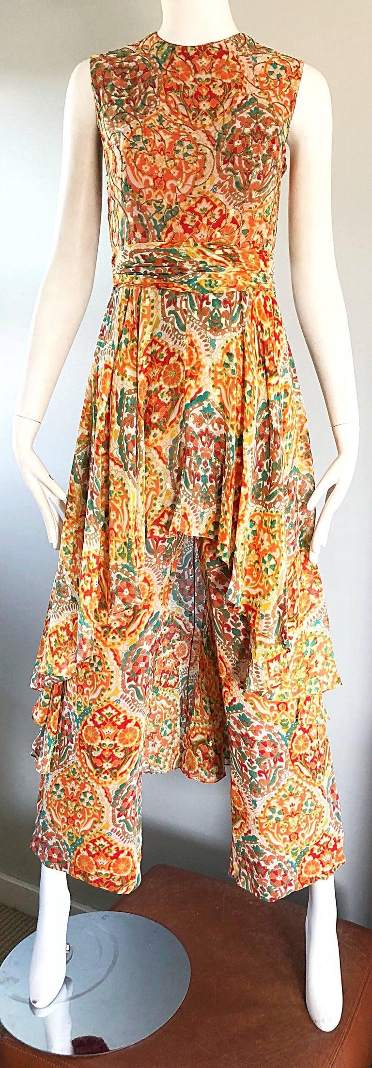 Oscar de la Renta Silk Boho Batik Print Vintage Jumpsuit with Attached Skirt  For Sale 4