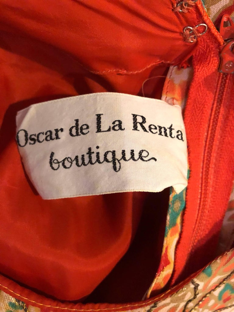 Oscar de la Renta Silk Boho Batik Print Vintage Jumpsuit with Attached Skirt  For Sale 5
