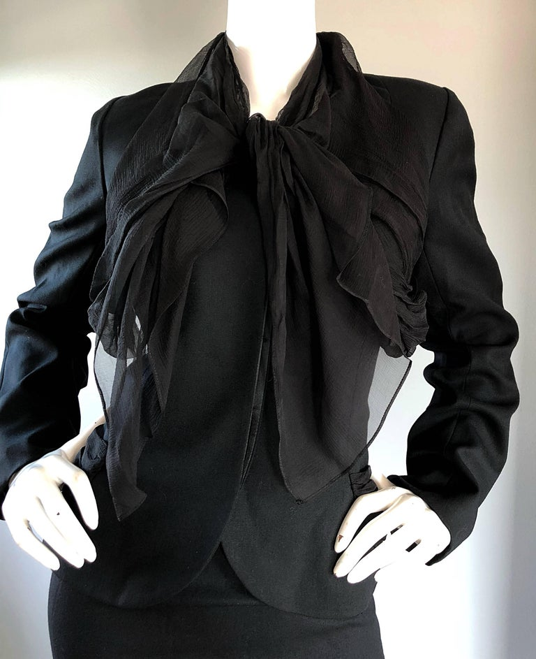John Galliano Early 2000s Black Size 8 / 10 1940s Style Jacket Skirt Suit In Excellent Condition For Sale In San Francisco, CA