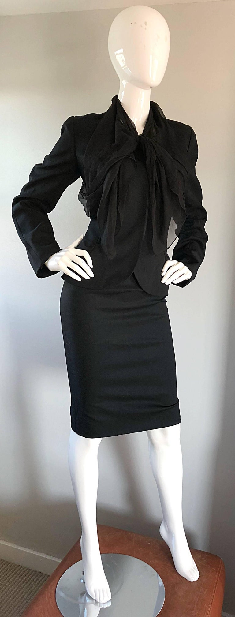 John Galliano Early 2000s Black Size 8 / 10 1940s Style Jacket Skirt Suit For Sale 1