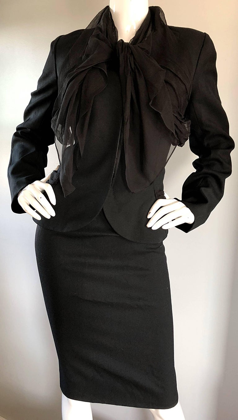 John Galliano Early 2000s Black Size 8 / 10 1940s Style Jacket Skirt Suit For Sale 2