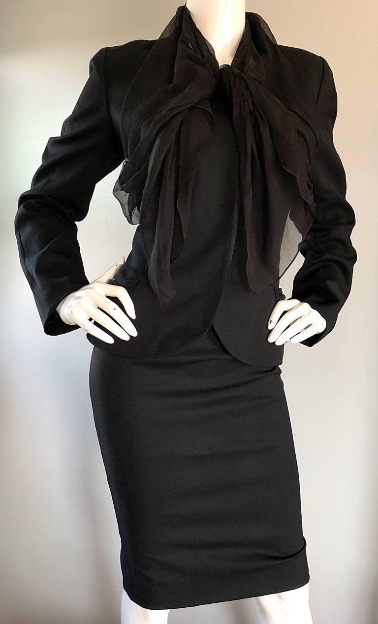 John Galliano Early 2000s Black Size 8 / 10 1940s Style Jacket Skirt Suit For Sale 3
