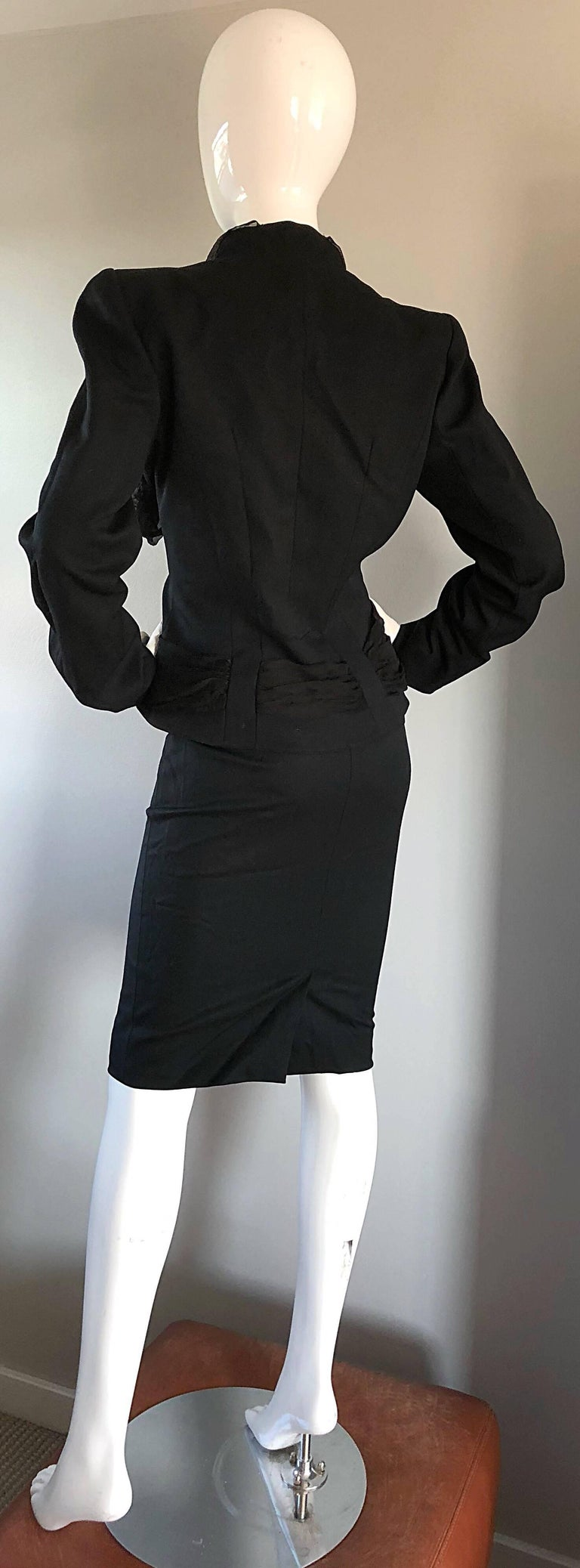 John Galliano Early 2000s Black Size 8 / 10 1940s Style Jacket Skirt Suit For Sale 4