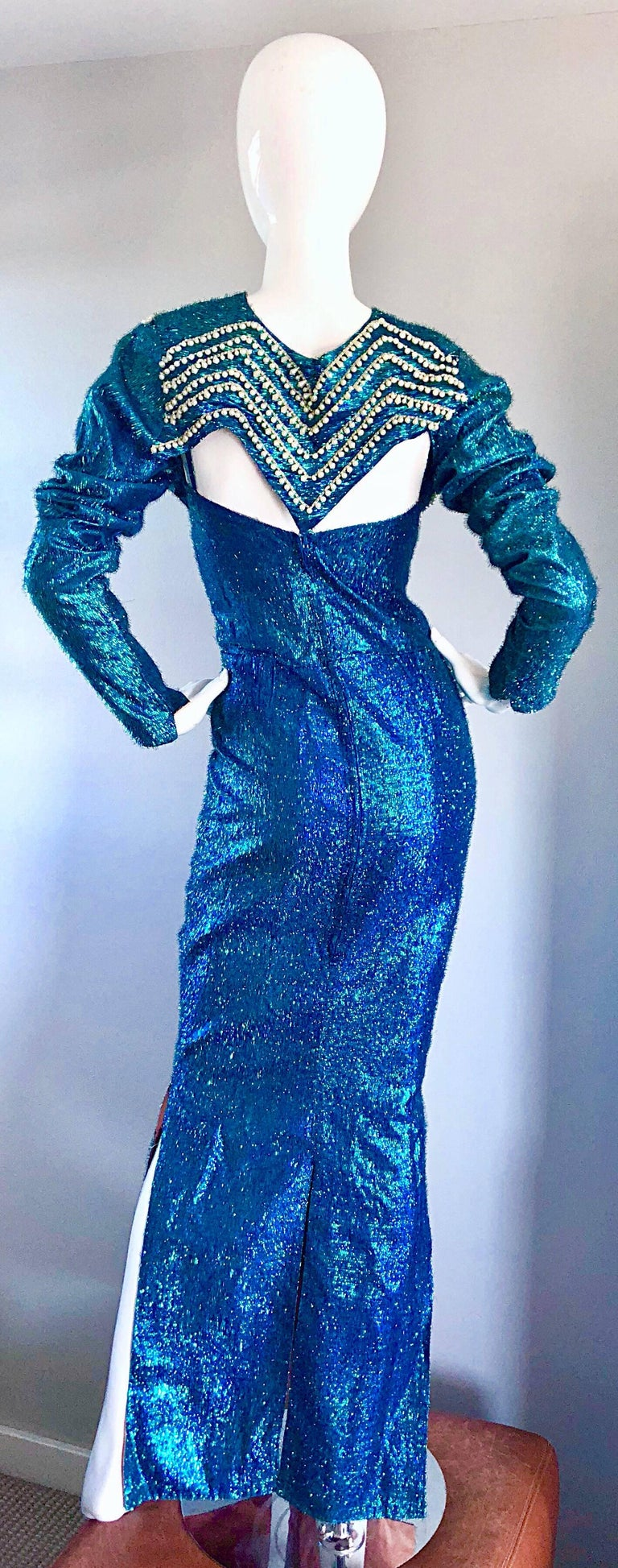 1950s Cerulean Blue Silk Lurex Showgirl Mermaid Gown + Bolero Beaded ...