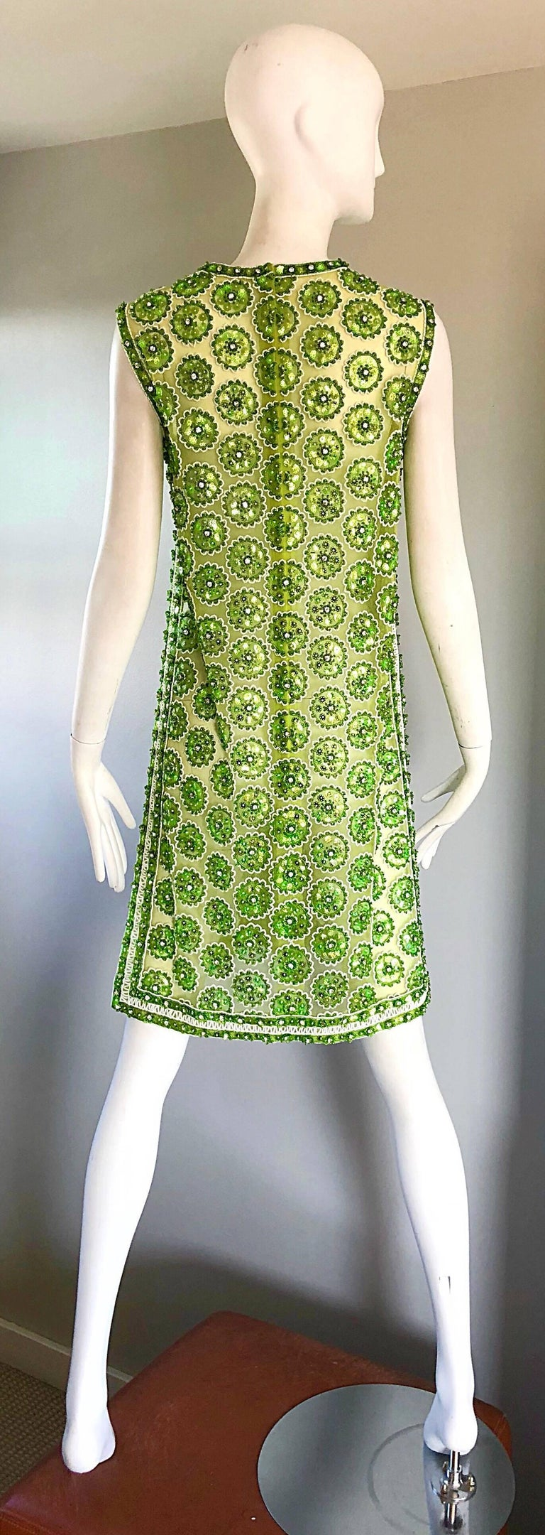 1960s Lime Green Heavily Sequin Beaded Demi Couture Mesh 60s Vintage Tunic Dress For Sale 1