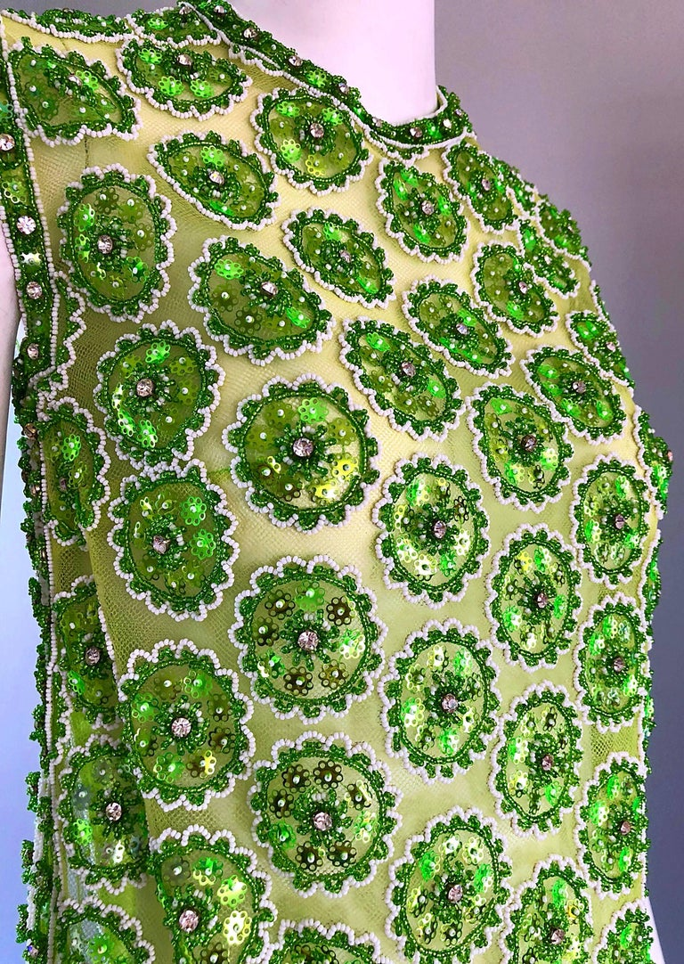 1960s Lime Green Heavily Sequin Beaded Demi Couture Mesh 60s Vintage Tunic Dress For Sale 3