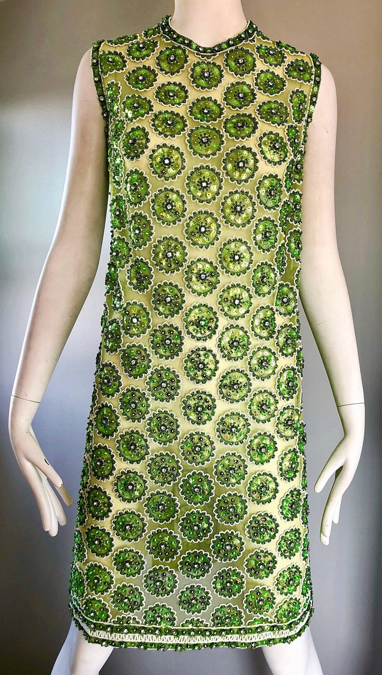 1960s Lime Green Heavily Sequin Beaded Demi Couture Mesh 60s Vintage Tunic Dress For Sale 4