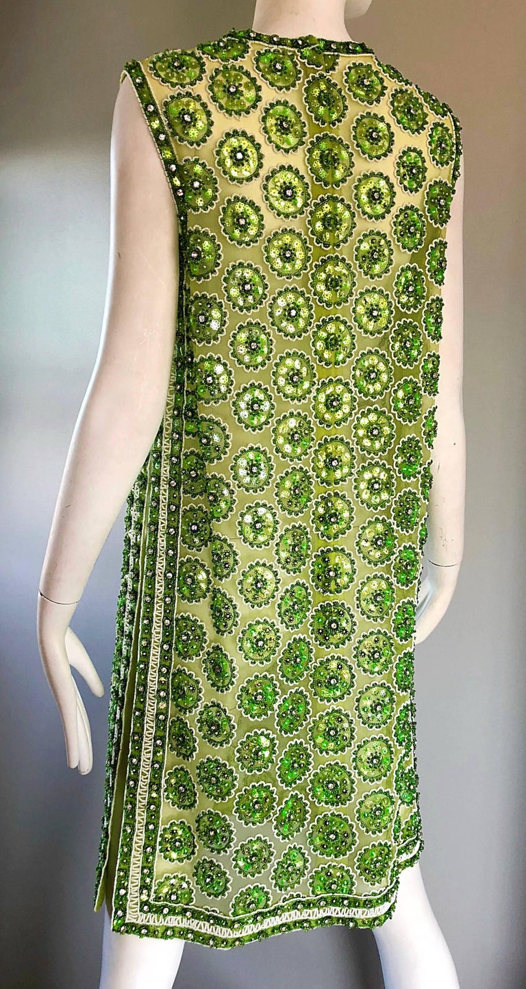 1960s Lime Green Heavily Sequin Beaded Demi Couture Mesh 60s Vintage Tunic Dress For Sale 5