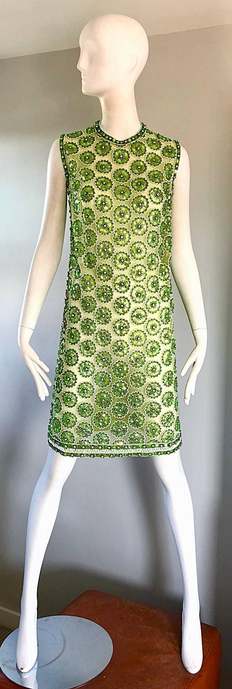 1960s Lime Green Heavily Sequin Beaded Demi Couture Mesh 60s Vintage Tunic Dress For Sale 6