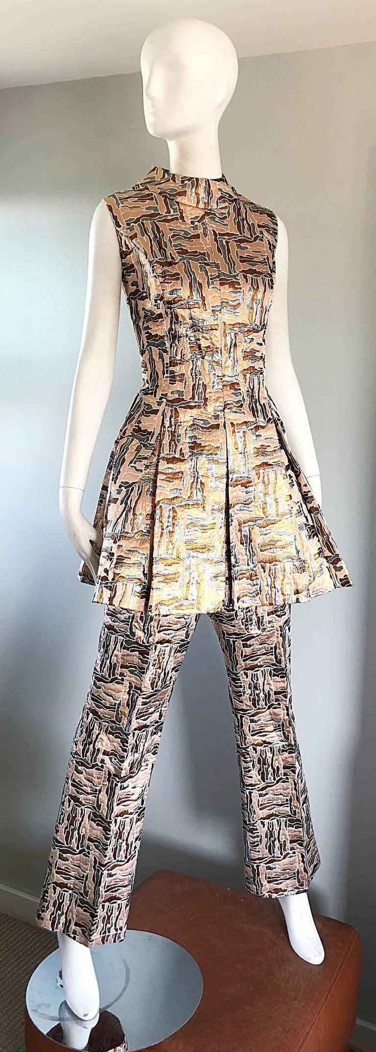 1960s Demi Couture Silver Bronze Silk Brocade Tunic