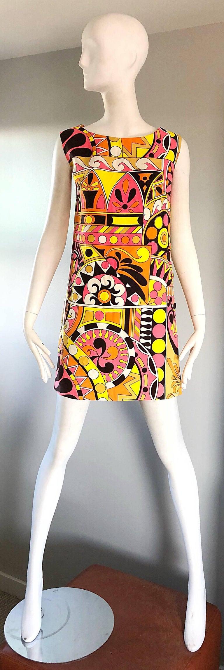 Amazing 1960s Saks Fifth Avenue Kaleidoscope Mosaic Print Colorful Shift Mini Dress Features Geometric Shapes