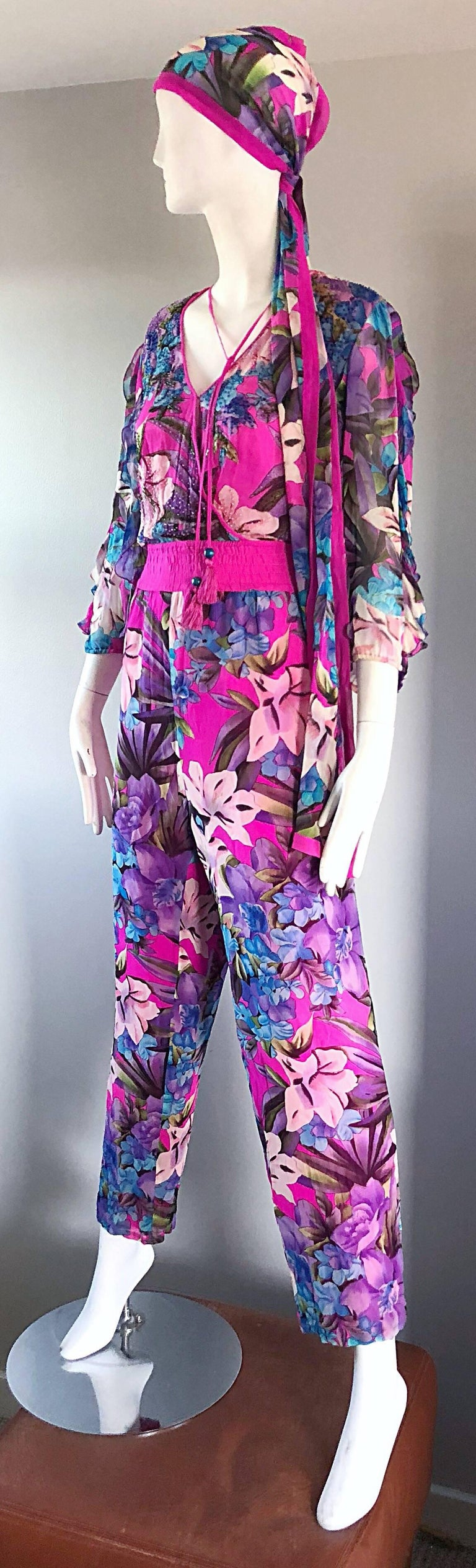 Amazing Vintage Diane Freis Silk Chiffon Beaded Pink Jumpsuit & Head Scarf Sash  In Excellent Condition For Sale In Chicago, IL