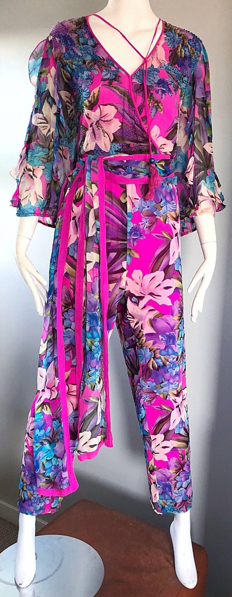 Women's Amazing Vintage Diane Freis Silk Chiffon Beaded Pink Jumpsuit & Head Scarf Sash  For Sale