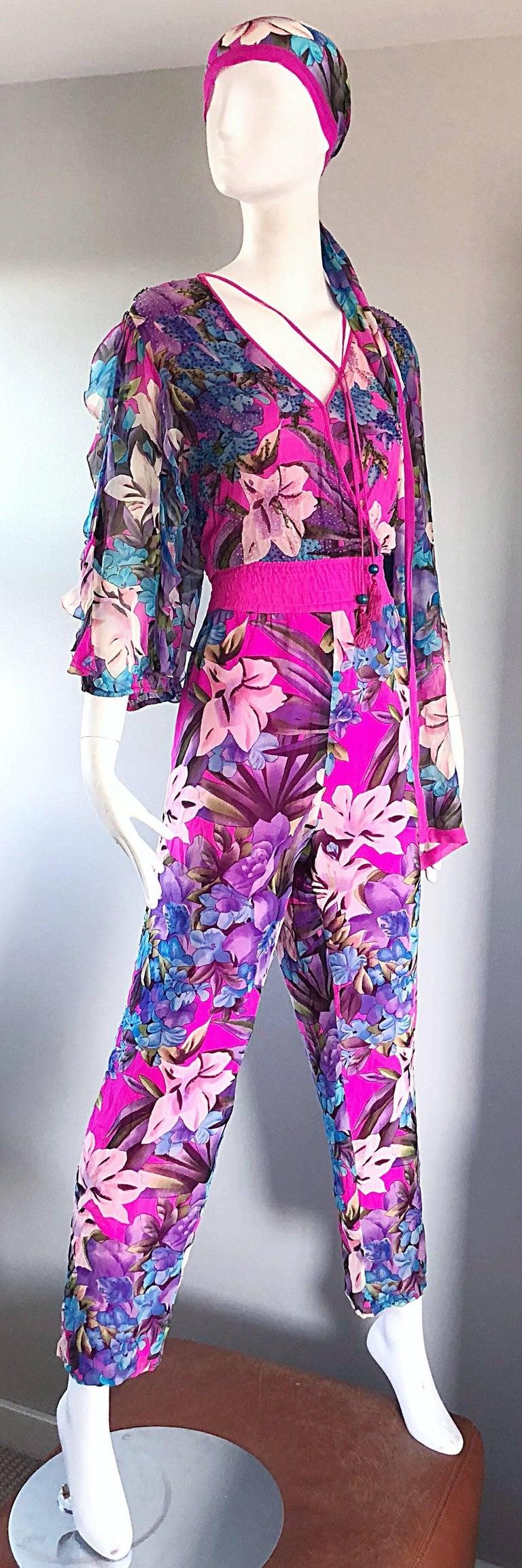 Amazing Vintage Diane Freis Silk Chiffon Beaded Pink Jumpsuit & Head Scarf Sash  For Sale 1
