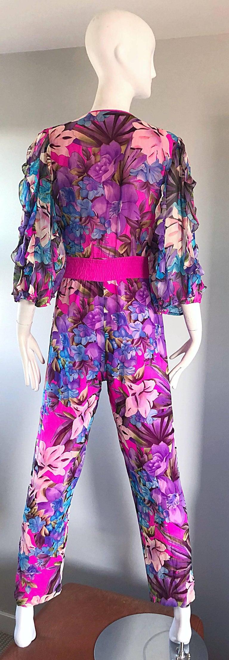 Amazing Vintage Diane Freis Silk Chiffon Beaded Pink Jumpsuit & Head Scarf Sash  For Sale 2