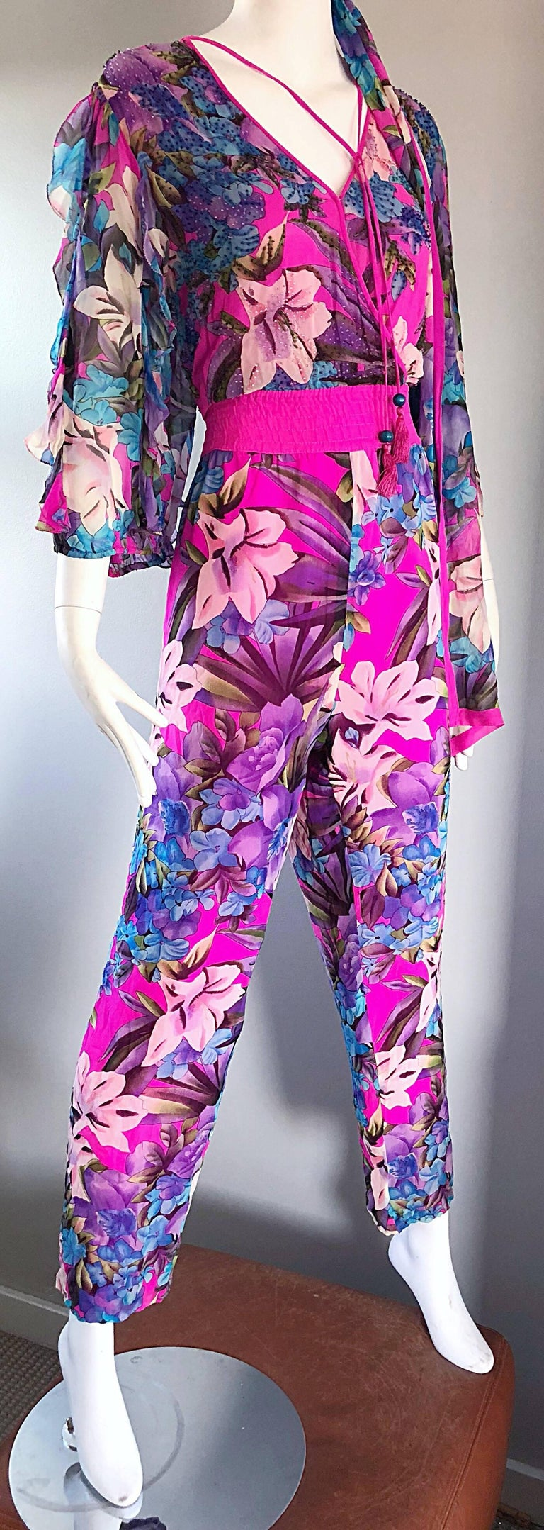 Amazing Vintage Diane Freis Silk Chiffon Beaded Pink Jumpsuit & Head Scarf Sash  For Sale 3