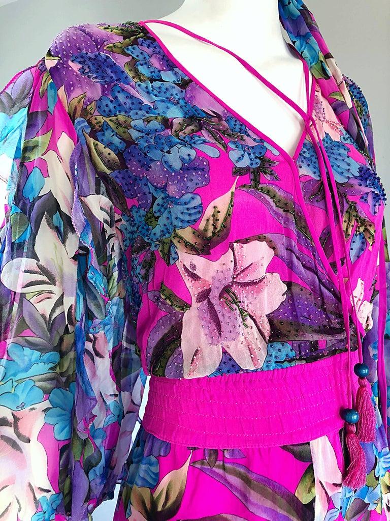 Amazing Vintage Diane Freis Silk Chiffon Beaded Pink Jumpsuit & Head Scarf Sash  For Sale 4