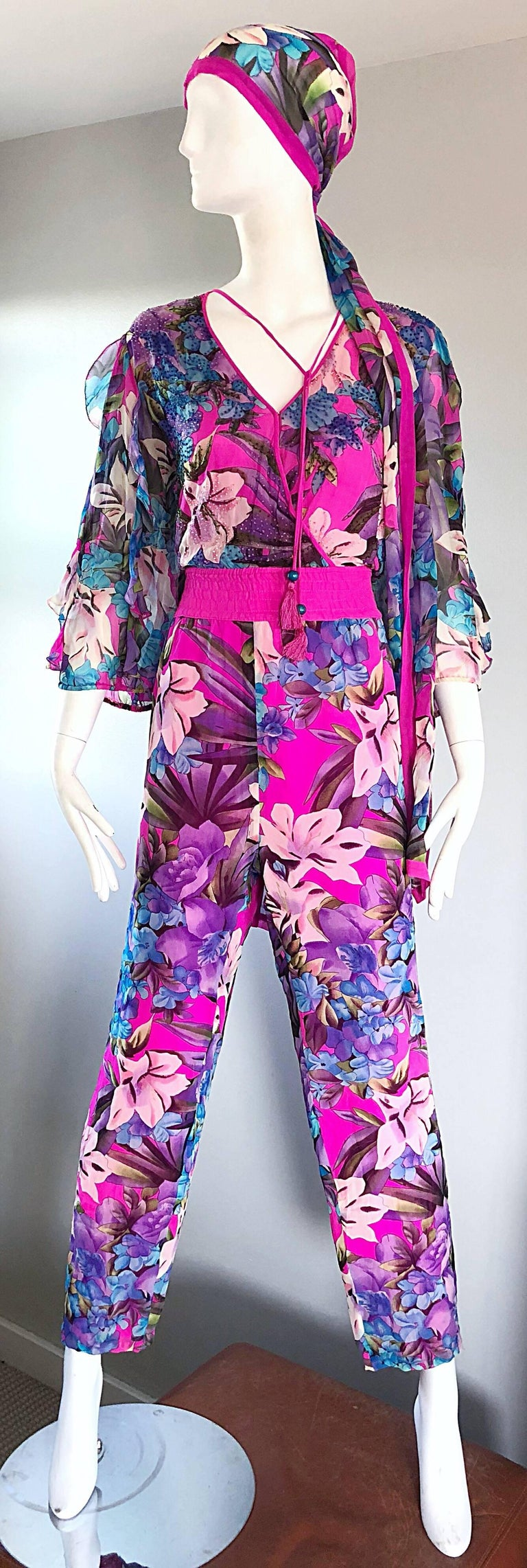 Amazing Vintage Diane Freis Silk Chiffon Beaded Pink Jumpsuit & Head Scarf Sash  For Sale 5