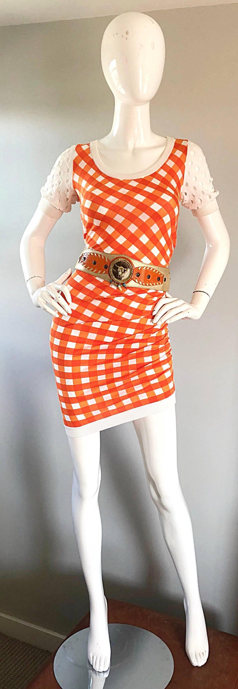 Vintage Moschino Cheap & Chic 1990s Orange + White Gingham Bodycon 90s Dress In Excellent Condition For Sale In Chicago, IL
