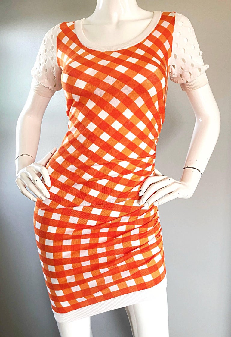 Vintage Moschino Cheap & Chic 1990s Orange + White Gingham Bodycon 90s Dress For Sale 2