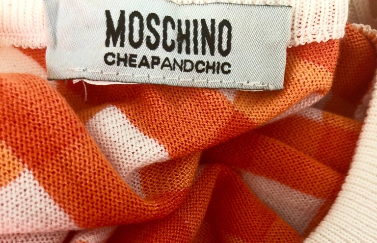 Vintage Moschino Cheap & Chic 1990s Orange + White Gingham Bodycon 90s Dress For Sale 5