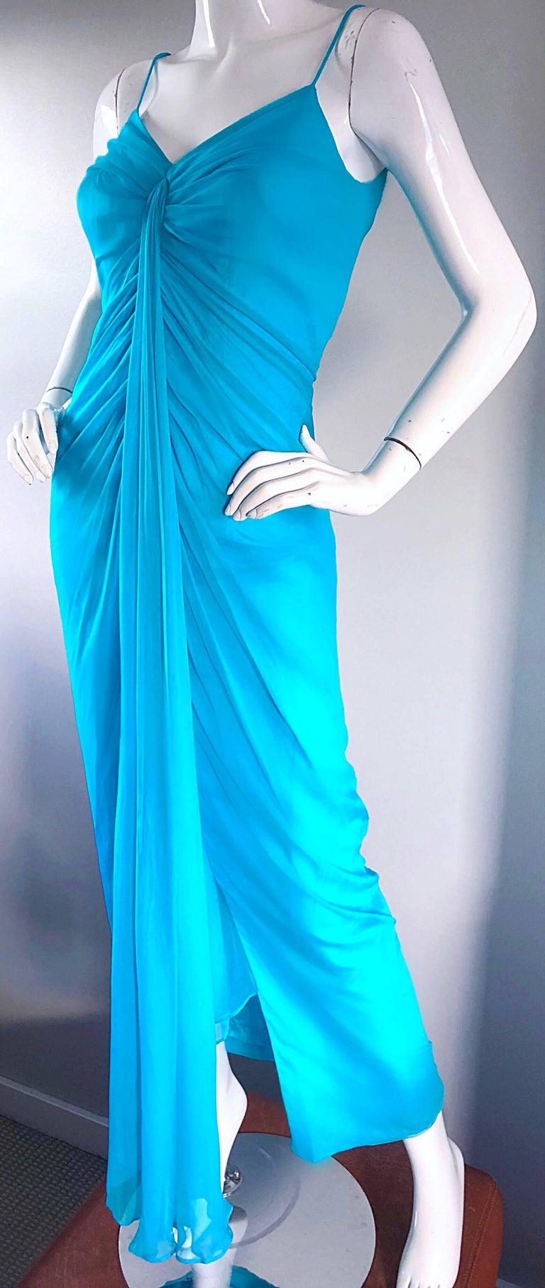 1970s Lilli Diamond Turquoise Blue Silk Chiffon Grecian Style 70s ...