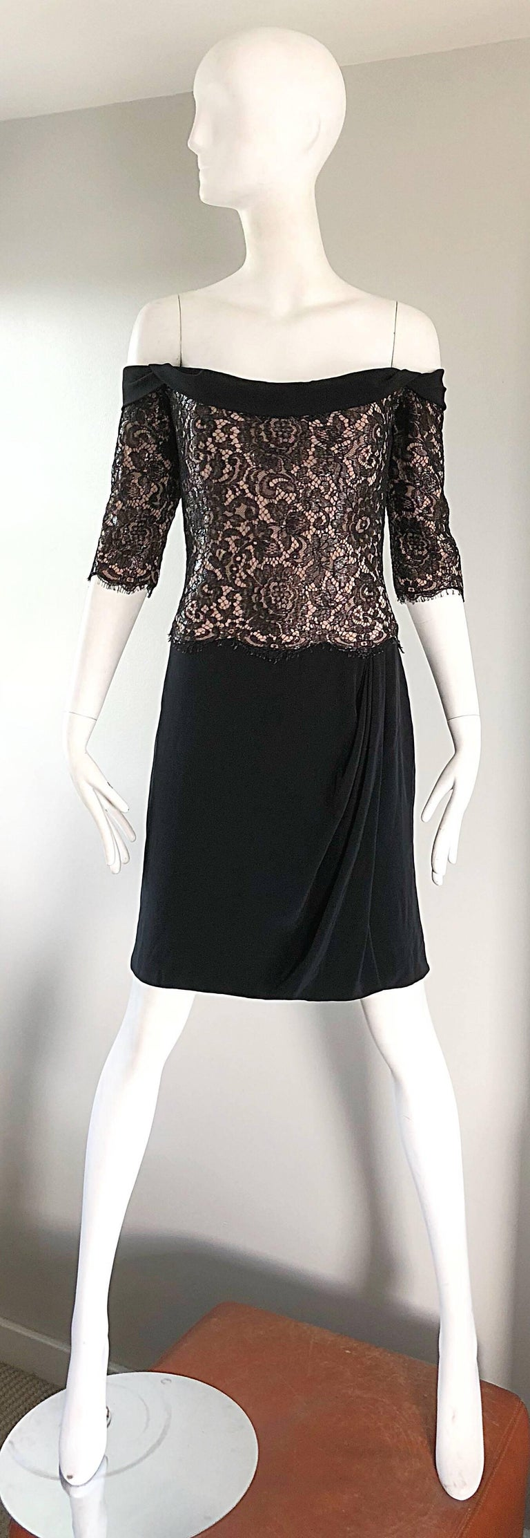 Vintage Bob Mackie Size 14 Black + Nude Lace Crepe Off - Shoulder 1990s Dress 2