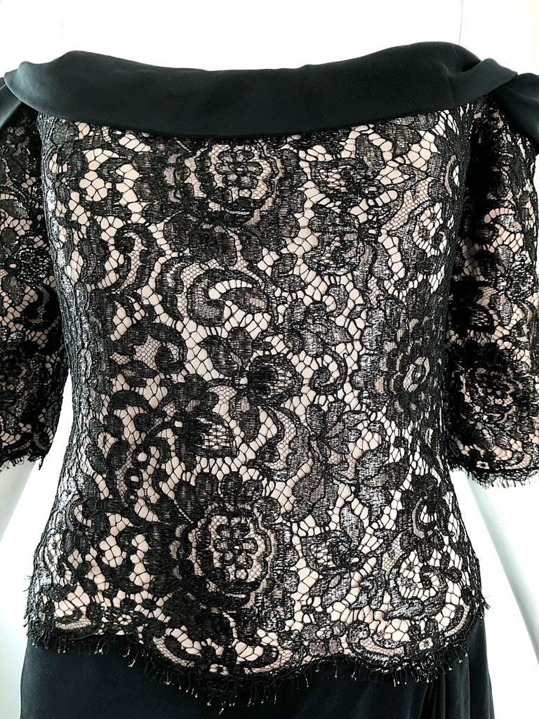 Vintage Bob Mackie Size 14 Black + Nude Lace Crepe Off - Shoulder 1990s Dress 3